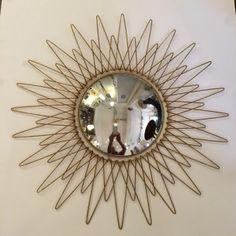 Miroir vintage en métal doré et verre - 1960