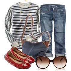 Some things are best kept simple...love the stripes with the red flats :)