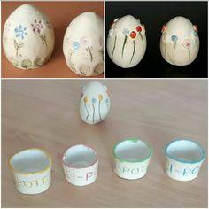 Ostereier und Eierbecher Ton