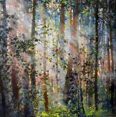 Bev Rodin - Forest Light Series: Peach Forest 30 x acrylic/canvas Forest Light, Acrylic Canvas, Rodin, Mystic, Woodland, Landscapes, Peach, Trees, Abstract