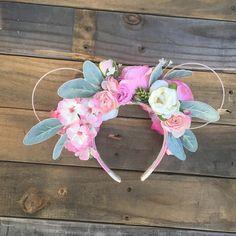 Pretty in pink ears pink floral pink flowers flower crown