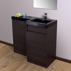 Aston Right Hand Dark Oak Bathroom Black Diamond Basin Vanity Unit & Toilet Unit - 1000mm