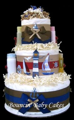 Nautical themed diaper cake- also good idea for Cape themed bridal towel cake.