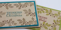 Stampin' Up! UK Feeling Crafty - Bekka Prideaux Stampin' Up! UK Independent Demonstrator: Fast and Fabulous Coloured Christmas Cards with Holly. Lots of Holly!