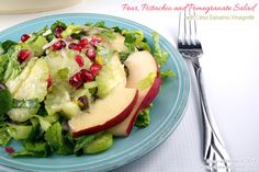 Pear Pistachio and Pomegranate Salad PLUS a Rachael Ray Cucina Stoneware Give Away #HolidayRecipes #ad #salads #EasyRecipes @PotsandPans.com - Busy-at-Home
