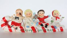 Vintage Commodore Japan Candy Cane Sled Merry Christmas Angels