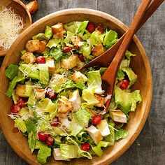 If it's too hot to cook, use leftover chicken or deli-roasted chicken to whip up an authentic Caesar salad, complete with garlicky dressing. For extra nutrients in your salad, throw in garden-fresh vegetables. We love the bright color and flavor of cherry tomatoes.