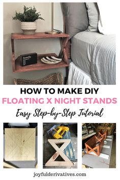 "Use our step-by-step instructions to build your own DIY floating ""X"" farmhouse style night stands. This floating night stand diy is perfect for hanging as bedside tables and can look both modern or mi Home Decor Bedroom, Bedroom Furniture, Home Furniture, Diy Home Decor, Diy Bedroom, Trendy Bedroom, Bedroom Ideas, Bedroom Modern, Furniture Stores"