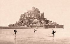French Vintage Gallery — Fisher near Mont Saint-Michel, Normandy, France,. Mt St Michel, Mont Saint Michel France, Region Normandie, Normandie France, Historical Images, Black N White Images, Luther, Titanic, Old Pictures