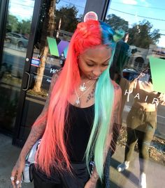 just fucking fllw me Cool Braid Hairstyles, Baddie Hairstyles, Creative Hairstyles, Black Girls Hairstyles, Two Color Hair, Hair Dye Colors, Split Dyed Hair, Curly Hair Styles, Natural Hair Styles
