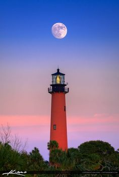 Gorgeous moon rise over the Jupiter Lighthouse in Palm Beach County Florida with some beauitful pink sky. HDR image created in EasyHDR and enhanced with Aurora HDR software.