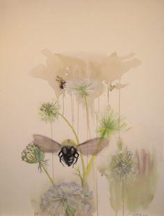 "Cara Enteles » Bees  Bees  30"" x 22.5"" Watercolor and mixed media on paper"
