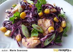 Salát z červeného zelí s kukuřicí a kuřecím masem recept - TopRecepty.cz Cabbage, Vegetables, Food, Essen, Cabbages, Vegetable Recipes, Meals, Yemek, Brussels Sprouts