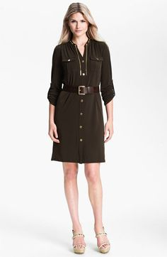 """This """"Bark"""" color from Michael Kors brings out your eyes. MICHAEL Michael Kors 'Chain' Shirtdress   Nordstrom"""