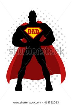 Cartoon illustration, silhouette of a superhero with dad symbol on chest - stock vector