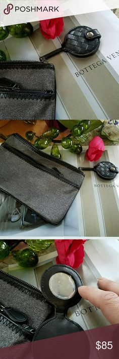 NEW DENIM BOTTEGA VENETA CLUTCH/WRISTLET NEW AUTHENTIC BOTTEGA VENETA SILVER DENIM WRISTLET 8 X 10, EXTERIOR ZIP, INTERIOR PLEATHER. CLASSIC BLACK WEAVE BOTTEGA VENETA COMPACT. IVE ADDED GUN METAL WRISTLET CHAIN LOBSTER CLAW AND KEY RING. (WHICH IS REMOVABLE) HARDWARE IS NEW PERFECT FOR A NIGHT OUT, JUST GRAB AND GO LOTS OF ROOM, WILL ACCOMMODATE ALL IPHONES AND BEAUTY ESSENTIALS RARE HTF! Bottega Veneta Bags Clutches & Wristlets