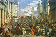 The Wedding Feast at Cana is a massive painting by the late-Renaissance or Mannerist Italian painter Paolo Veronese. It is on display in the Musée du Louvre in Paris, where it is the largest painting in that museum's collection. Renaissance Kunst, Renaissance Paintings, Italian Renaissance, Religious Paintings, Religious Art, Large Painting, Painting & Drawing, Georg Trakl, Museum Paris