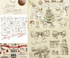 Vintage mano dibujada Merry Christmas ilustraciones vector