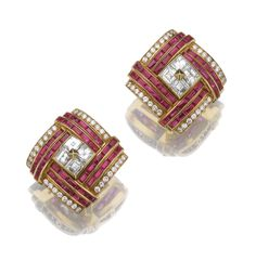 Pair of ruby and diamond ear clips, Bulgari | Lot | Sotheby's