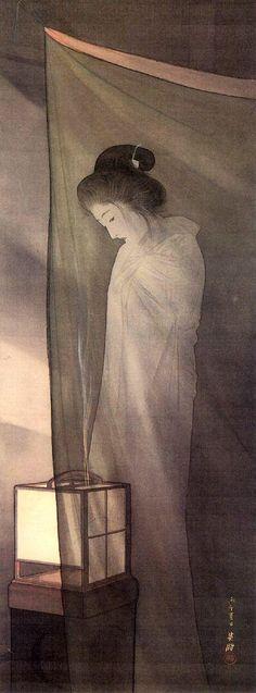 鰭崎英朋「蚊帳の前の幽霊」