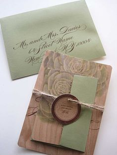 Succulent wood wedding invitation