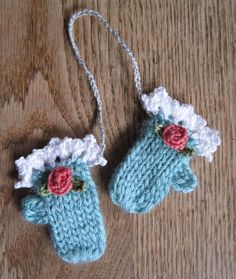 Mr. Micawber's Recipe for Happiness: Making Winter: Tiny Mitten Ornaments ~ A Knit Pattern with Optional Crochet Trim