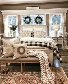 Look at the drapes😍 Farmhouse Master Bedroom, Christmas Wreaths, Christmas Decorations, Berry Wreath, Christmas Pillow Covers, Living Room Furniture, Diy Furniture, Cheap Home Decor, Diy Home Decor
