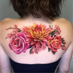 Best Pastel Color Flower Tattoos For Girls – Shake that bacon - Tatuering Tattoo Girls, Girl Tattoos, Tattoos For Women, Tatoos, Sexy Tattoos, Thigh Tattoos, Realistic Flower Tattoo, Colorful Flower Tattoo, Colorful Tattoos