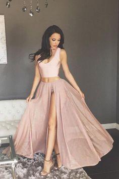 two piece pink long prom dress, 2018 prom dress, prom dress with side slit, formal evening dress, graduation dress #Graduationdresses