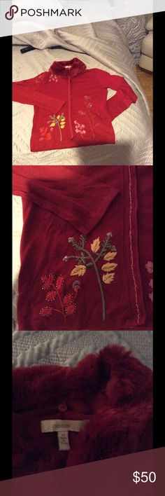 Embroidered Cardigan Sweater Detachable Fur Collar Perfect Sweater for holiday parties.... Easel Sweaters Cardigans