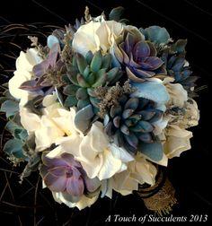 Succulent Wedding Bouquet Rustic bouquet by ATouchofSucculents, $150.00