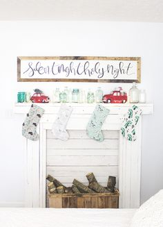 DIY Rustic Chippy Faux Fireplace Mantel