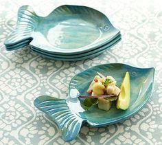 Pesce Melamine Appetizer Plate, Set of 4 #POTTERY BARN. Love the stylish melamine for outdoors.