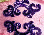 "0242 Purple Appliques Mirror Pair Sequin Beaded 6"" (0242-pr)"