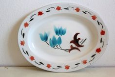 Vintage Enamel Tray Flowers Home Decor by CakeNumber9 on Etsy, $25.00