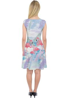PattyCandy Womens Flamingo Capsleeve Midi Dress - Many sizes   & patterns available.