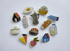 ceramic brooches different designs by aliceroses on Etsy