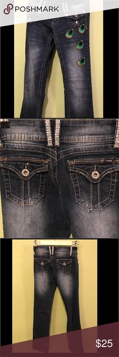 Angels Custom Peacock Bling Boot cut jeans One of kind Peacock Bling Jeans. Barely worn! So cute but they don't fit me anymore!! Angels Jeans Boot Cut