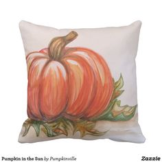 Pumpkin in the Sun Throw Pillow This watercolor illustration features a fresh pumpkin in the sun on a bed of leaves.