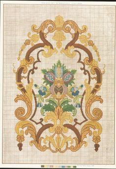 Gallery.ru / Ôîòî #178 - 1 - ergoxeiro Jacobean Embroidery, Vintage Embroidery, Cross Stitch Embroidery, Cross Stitch Patterns, Hand Embroidery, Art Nouveau Pattern, Vintage Borders, Bargello, Vintage Ornaments