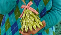Here's a quick idea for an ornament that's as easy as it is fun. Build this Christmas tree ornament with your kids. This could turn into a present they're proud to present to Grandma or Grandpa!