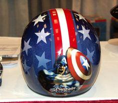 The Best Cartoon Motorcycle Helmet Ever. Captain America Motorcycle Helmet, Motorcycle Helmet Design, Motorcycle Types, Motorcycle Gear, Women Motorcycle, Bmw Motorcycles, Vintage Motorcycles, Custom Motorcycles, Gs 1200 Adventure