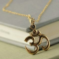 Gold Om Necklace, Buddhist Jewelry, Good Karma, Ohm Charm, Yoga, Meditation, Bronze Charm, Spiritual, Hinduism
