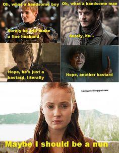 Jack Gleeson as Joffrey Baratheon, Iwan Rheon as Ramsay Bolton and Sophie Turner as Sansa Stark Sansa Stark, Jack Gleeson, Game Of Thrones Meme, Iwan Rheon, Game Of Thones, Got Memes, My Sun And Stars, Book Tv, Best Games