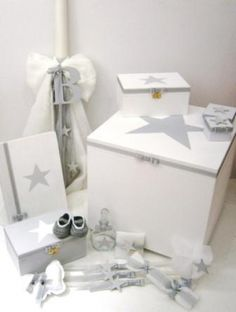 """Handcrafted """"Star"""" baptism series at www. Christening Decorations, Baby Boy Christening, Baptism Invitations, Little Star, Diy Toys, Toys For Boys, Floating Nightstand, Cool Kids, Decorative Boxes"""
