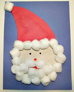 Construction Paper Marker Cotton Balls Glue Santa