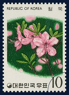 Postage Stamps of flower Series, royal azalea, rhododendron, Flower, green, pink, 1975 05 15, 화초 시리즈(제2집), 1975년 05월 15일,  950, 철쭉, postage 우표