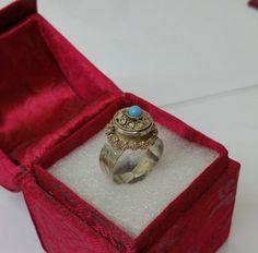 Antiker Giftring Silber 800 filigran Achat SR727 von Schmuckbaron