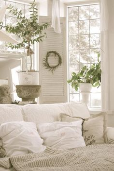 shutters and pillows...French Country: