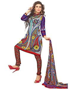 Multi Crepe Churidar Salwar Kameez with Dupatta